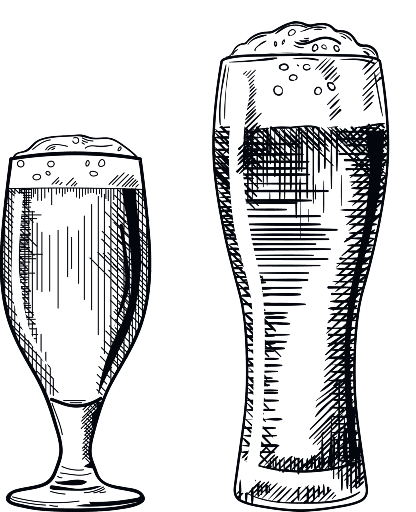 Line illustration of two pints of alcohol. Six Bells Inn Pub, Pub Beer Garden, Alcohol, Public House Colerne, Wiltshire