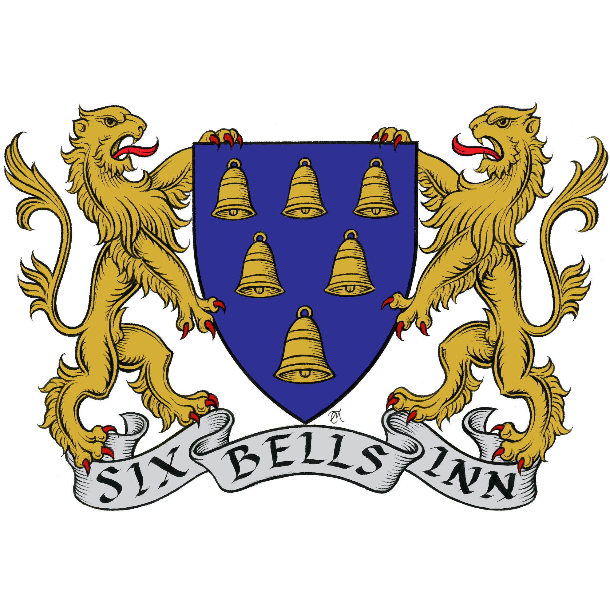 """Coat of arms with two lions and six bells inside shield crest. banner text, """"Six Bells Inn"""". Six Bells Inn Pub, Pub Beer Garden, Alcohol, Public House Colerne, Wiltshire"""